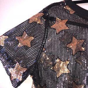 Mesh Gold Star Sequin T-Shirt Dress